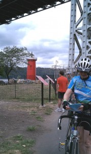 NYC Cyclists at Lighthouse below GWashington bridge