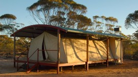 Tents at Kangaluna Camp near Gawler Ranges National Park are more luxurious than you might think. (photo credit: Katherine Rodeghier, c 2012)