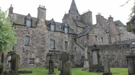 The old buildings of the Canongate, from the churchyard