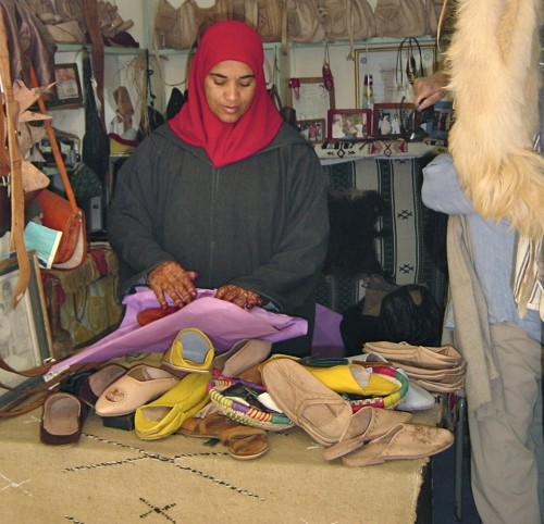 Skilled artisan makes slip-on footwear at Centre de l'Artisanat (Credit: MCArnott)