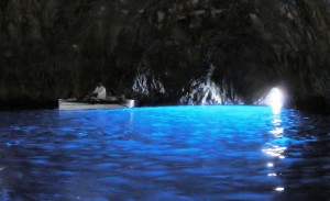 Inside the Blue Grotto and its iconic blue light