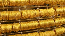 A wall of gold bracelets in Dubai's Gold Souk