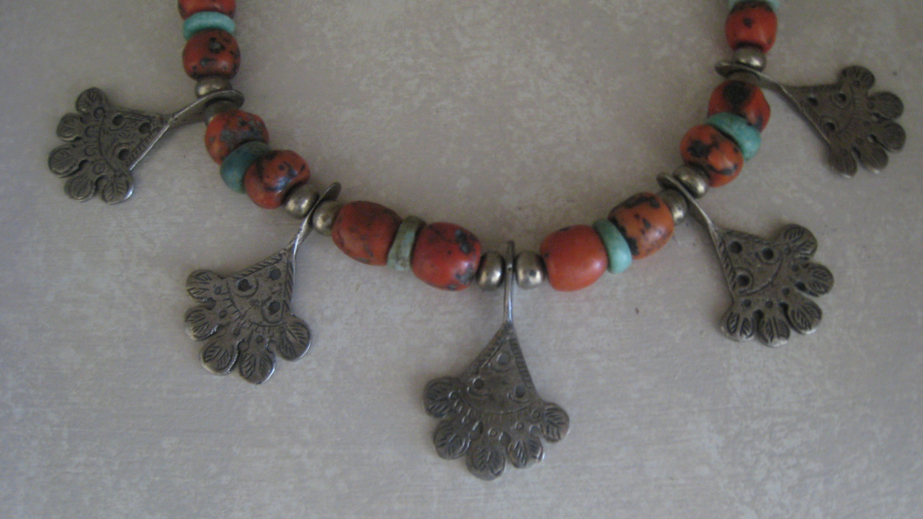 schafer full necklace copper tag view berber navigator coral norma cultural oaxaca