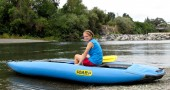 Kayaking on the Russian River is fun in an inflatable water craft. (Melanie Radzicki McManus)