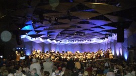 The Boston Pops warm up in the Tanglewood Shed.