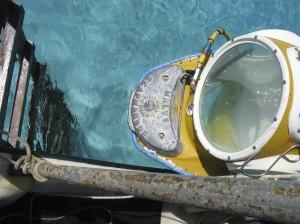 Boat ladder and diving helmet still on the hoist. (Credit: Aquablue Exploration)