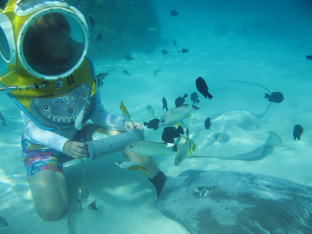 Meeting stingrays in Moorea in the Society Islands (Credit: JRArnott)