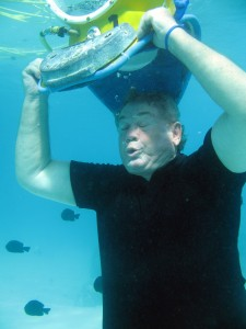 This optional test shows how air pressure will force water out of the diving helmet. (Credit: Aquablue Exploration)