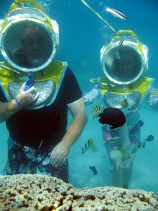 Underwater Walking in Moorea in the Society Islands (Credit: Aquablue Exploration)