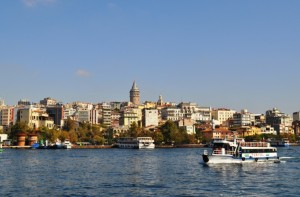 The Galata Tower is the medieval stone tower in the center.