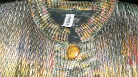 This hand-knitted sweater is made of hand spun and hand-woven yarn.