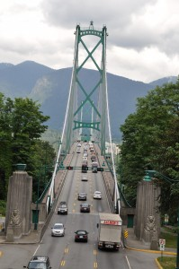 The seawall extends on to the Lions Gate Bridge that connects Vancouver to the North Shore through Stanley Park (Credit; MCArnott)