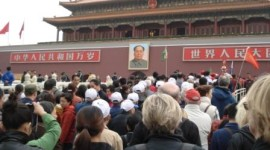 Crowds in Tiananmen Square (Ann Burnett)