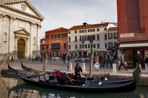 Campo S. Barnaba with gondola and Church of S. Barnabas, Venice