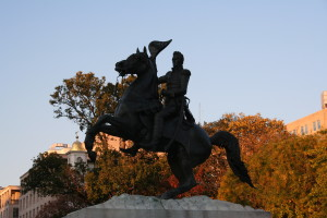 Silhouette of Andrew Jackson Highlights Deciduous Trees Turning Colors (photo credit: Chuck Eirschele, c 2008)