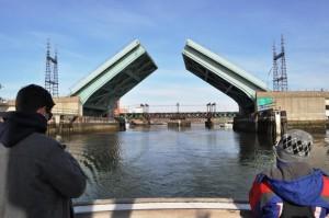 The drawbridge goes up for the R.V. Oceanic