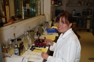 Writer Laura Byrne Paquet does her best impression of a mad scientist in the Tijon perfume lab. Photo courtesy of Tijon.