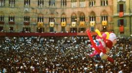 Palio crowds fill Piazza il Campo in Siena Italy