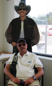 A driver and a cardboard likeness of The King, Richard Petty (Kath Usitalo photo)