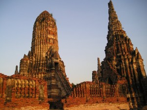 A temple at sunset in Ayutthaya, Thailand