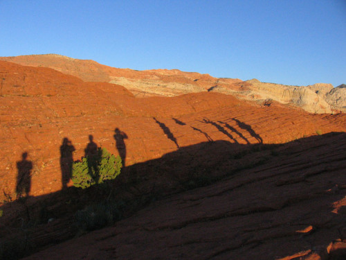 Shadows on a red rock hike, Utah