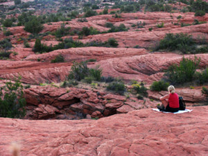 Time for meditation on the red rocks (photo by Kath Usitalo)