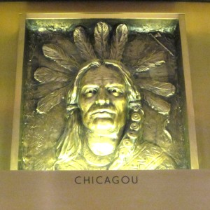 Chief Chicagou: one of the bronze portraits in the Marquette Building.