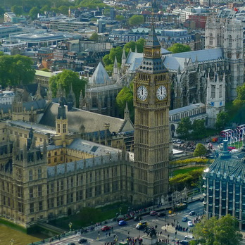 Aerial view of the clock tower and two faces of Big Ben