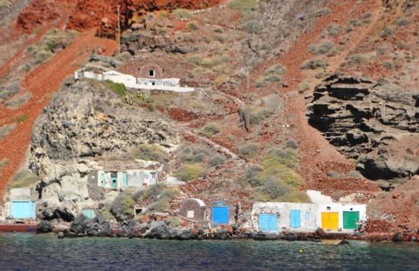 Boathouses on Santorini