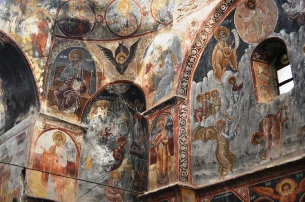 Byzantine frescoes fill St. John's Monastery.