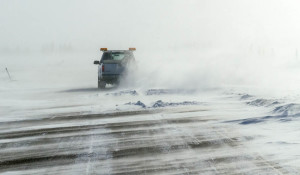 Driving in a blizzard in Churchill, Manitoba, Canada. The temperature was minus 30 with enough wind to make it feel like minus 50 F. Photo by Yvette Cardozo