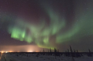Northern lights seen from just outside Churchill, Manitoba. The bright light on the horizon is lights from the town. Northern lights happen when electrically charged particles from the sun interact with the earth's magnetic field and various gasses in the atmosphere. The energy from this is released as colored light. Photo by Yvette Cardozo