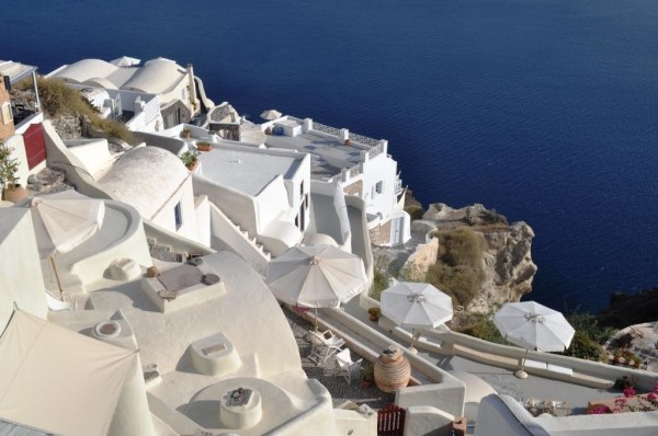 Looking down from Oia. Many of these homes have been converted to hotels and guest houses.