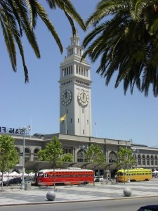 F-Line vintage trolleys make a stop in front of the city's landmark ferry building. (Photo:Yvonne Michie Horn)