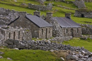 Hirta, remains of black houses with reconstructed white houses from the 1860s