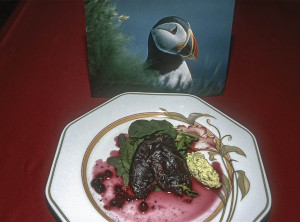 Puffin breast for dinner in Iceland. A popular dish.