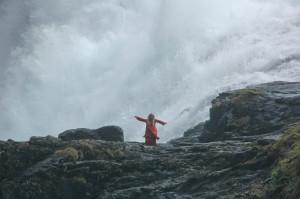 Dancing down the slippery rocks of Kjosfossen (Roberta Sotonoff)