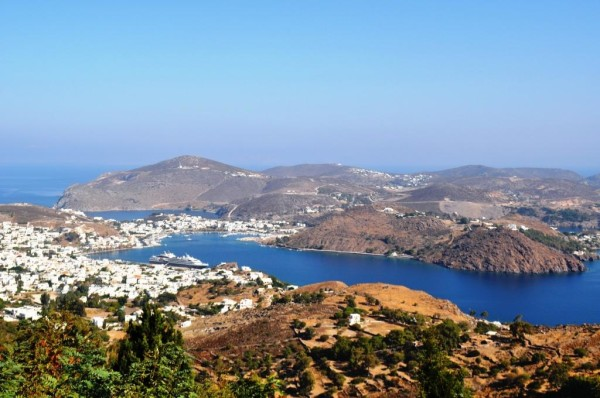 L'Austral can be seen in port in Patmos.