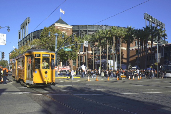 San Francisco's F line features refurbished vintage streetcars rescued from the dustbins of the world.