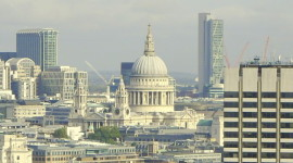 London skyline with the white dome of St. Paul's Cathedral in the middle