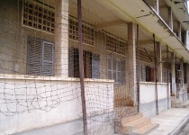 Barbwire outside the Tuol Sleng Genocide Museum in Phnom Penh