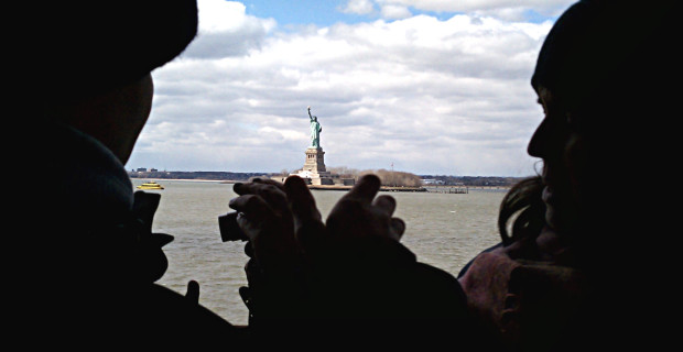 Tourists aboard Staten Island Ferry