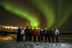 Our group with northern lights in Churchill, Manitoba. Photo by Dan Harper