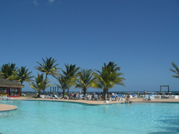 One of the oceanside swimming pools at  Coconut t Bay.