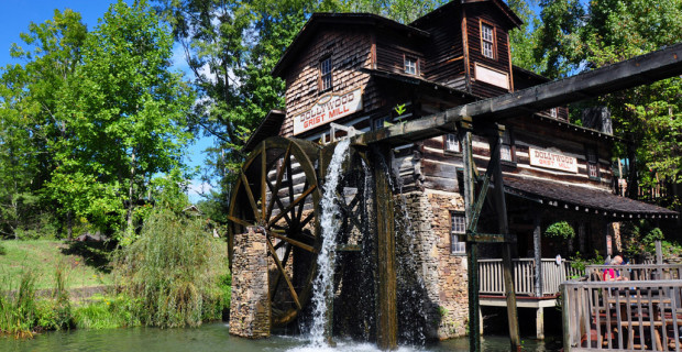 The working grist mill at Dollywood was built by hand to resemble mills in the 19th century. (photo credit: Katherine Rodeghier c 2013)