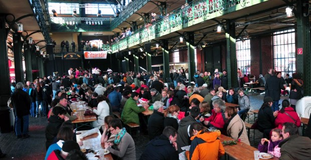 People dine and dance Inside the historic Auction Hall. (photo credit: Katherine Rodeghier c 2013)