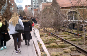 Exposed railroad ties along High Line