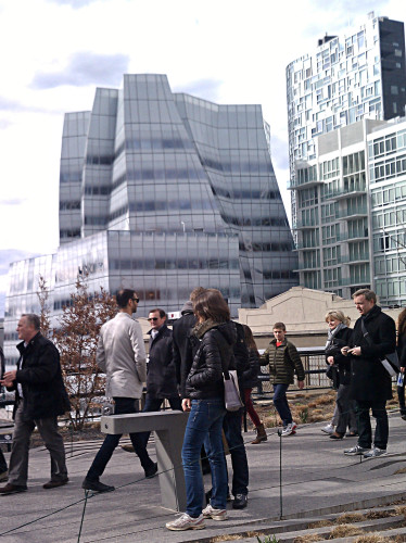High Line water fountain (foreground) looking toward Gehry IAC building.