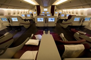 Business-class seats on Qatar Airways 777s have flat bed sleeper seats. (Courtesy of Qatar Airways)