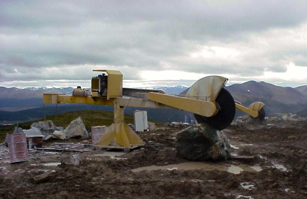 Slicing is done with a 6-foot diamond saw and diamond wire saw (Courtesy The Jade Mine)